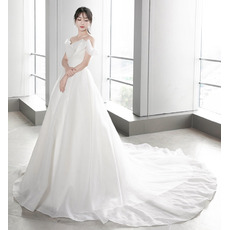 Chic & Simple A-line Ruched Bodice Organza Wedding Dresses with Train