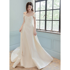Simple & Classy Satin Wedding Dresses with Pleating Detail
