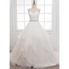 Gorgeous Ball Gown Organza Wedding Dresses with Crystal Belt