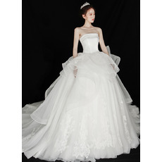 Enchanting Ball Gown Layered Hi-low Skirt Wedding Dresses with Wide Horsehair Edging