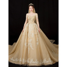 Luxury Beading Appliques Tulle Wedding Dresses with Long Sleeves