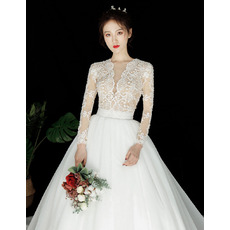 Gorgeous Beading Embellished Bodice Tulle Wedding Dresses with Long Sleeves and Open Back