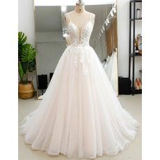 Exquisite Beading Embellished Bodice Tulle Over Lace Wedding Dresses