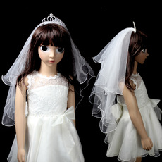 Stylish Holy Communion Flower Girl Tiara Headpiece with Veil