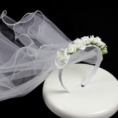 Beautiful Roses Floral Holy Communion Flower Girl Tiara Headpiece with Comb Veil