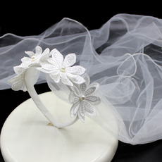 Romantic Floral Pearl Detailing Holy Communion Flower Girl Tiara Headpiece with Comb Veil