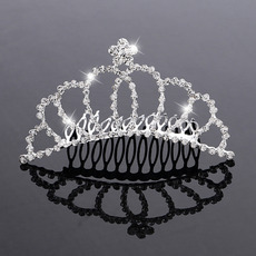 New design Princess Crystals Silver First Communion Flower Girl Tiara Comb