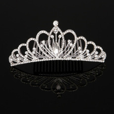 Stylish New Design Crystal Rhinestones Silver First Communion Flower Girl Tiara Comb