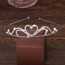 Wonderfully Sparkly Crystal Heart-inspired Silver First Communion Flower Girl Tiara/ Wedding Headpiece