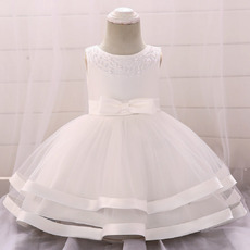 Cute Beading Scoop Neckline Satin Tulle First Holy Communion Dresses with Two Layered Skirt
