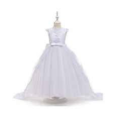 Princess Appliques Satin Tulle First Holy Communion Dresses with Cap Sleeves and Bowknot