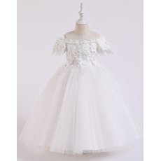 Beautiful Off-The-Shoulder First Holy Communion Dresses with Floral Applique Bodice