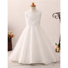 Gorgeous A-line Tulle First Holy Communion Dresses/ Flower Girl Dresses with Crystal Beading Bodice
