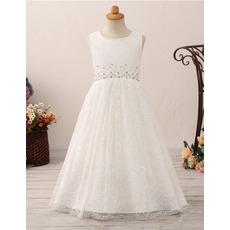 Pretty A-line Lace Flower Girl Dresses with Crystal Beading Waist