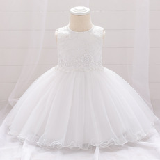Cute Jewel Neckline Tulle First Holy Communion Dresses with Beaded Neckline and Waist