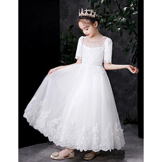 Couture Beaded Illusion Neckline Tulle First Holy Communion Dresses with Puff Sleeves and Appliques Detail