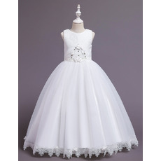 Beautiful Satin Tulle First Holy Communion Dresses with Lace Appliques Detail