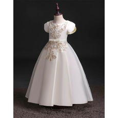 Beautiful Floral Appliques First Communion Dresses with Short Sleeves