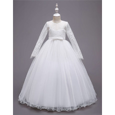 Simple Full Length Tulle Flower Girl Dresses with Lace Bodice and Long Sleeves