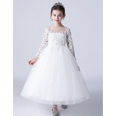 Pretty A-line Floral Appliques Bodice Tulle First Communion Flower Girl Dresses with Long Sleeves
