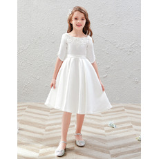 Tailored Scoop Neckline Knee Length Satin First Communion Flower Girl Dresses with Half Sleeves