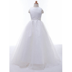 Discount Pretty Ball Gown Organza First Communion Dresses with Beaded Appliques Waist