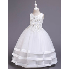 Enchanting Floral Appliques Ball Gown Tulle First Communion Flower Girl Dresses with Layers Skirt
