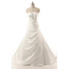 Elegance Beaded Strapless Satin Wedding Dresses with Side Gathered Skirt