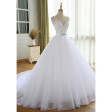 Dramatic Crystal Beading Embellished Bodice Tulle Wedding Dresses with Satin Belt