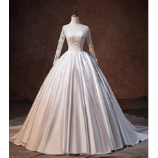 Floral Applique Ball Gown Satin Wedding Dresses with Long Sleeves and Open Back