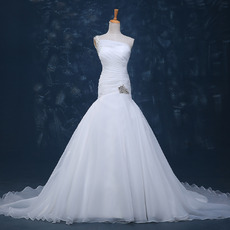 Beautiful Beaded One Shoulder Court Train Pleated Organza Wedding Dresses