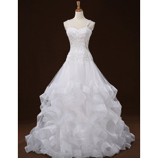 Beaded Appliques Spaghetti Straps Tulle Wedding Dresses with Layered Wide Horsehair Edging Skirt