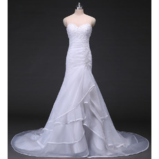 Stylish Beading Appliques Sweetheart Organza Wedding Dresses with Layered Skirt