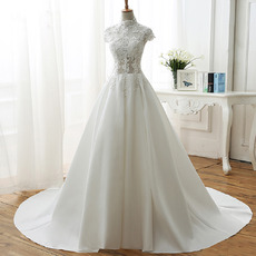 Sexy Exposed Beaded Appliques Illusion Bodice Wedding Dresses with Pleated Satin Skirt