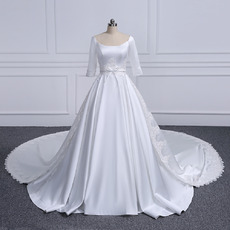 Plunging Scoop Neckline Plus Size Satin Wedding Dresses with Appliques Waist and Train