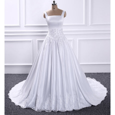 Delicate Square Neckline Satin Wedding Dresses with Appliques Waist and Hem