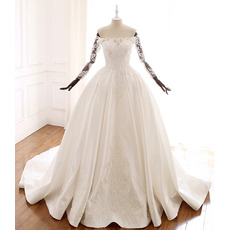 Delicate Beaded Appliques Off-The-Shoulder Ball Gow Satin Wedding Dresses with Long Sleeves
