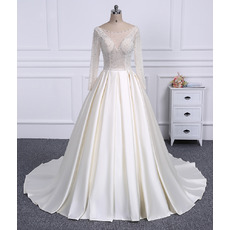 Gorgeous Crystal Beading Bodice Ball Gow Satin Wedding Dresses with Long Sleeves