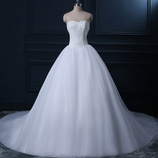 Simple Sweetheart Ball Gow Tulle Wedding Dresses with Lace Bodice