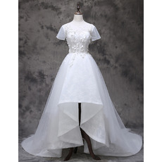 Romantic Asymmetrical High-Low Hem Lace Tulle Wedding Dresses with Beading Petal Detail