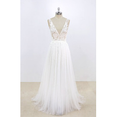 Dramatic Deep V-neckline and back Summer Tulle Wedding Dresses with Floral Appliques Bodice