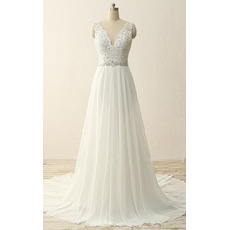Wonderful Double V-Neck Wedding Dresses with Beaded Appliques Bodice and Pleated Chiffon Skirt