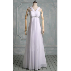 Elegance Beading Empire White Chiffon Wedding Dresses with Ruched Detail