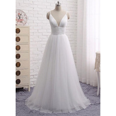 Simple and Sexy Deep V-neckline Pleated Tulle Wedding Dresses