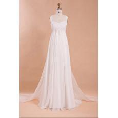 Graceful Beaded Appliques Empire Pleated Chiffon Wedding Dresses