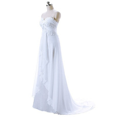 Discount Strapless Crossover Draped Bodice Chiffon Wedding Dresses with Front Ruffles