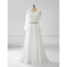 Elegant Deep V-back Chiffon Plus Size Wedding Dresses with Lace Bodice and Long Sleeves