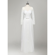 Elegant Long Sleeves Lace Wedding Dresses with Detachable Chiffon Overskirt