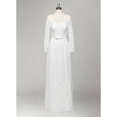 Elegant Long Sleeves Lace Wedding Dresses with Detachable Chiffon Overskirt