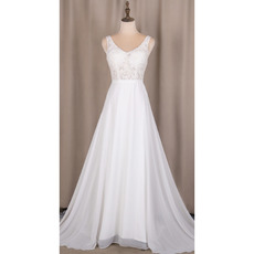 Classy Double V-Neck Chiffon Wedding Dresses with Beaded Appliques Bodice